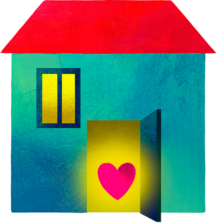 Illustration of a heart in the open doorway of a home